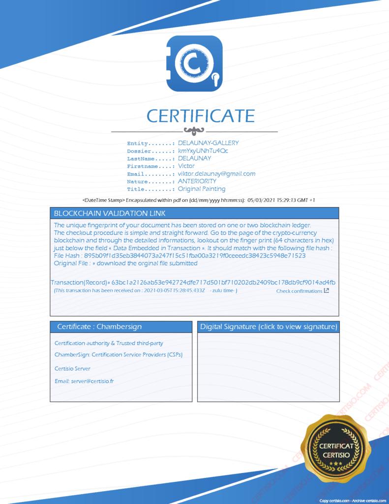 NFT certificate